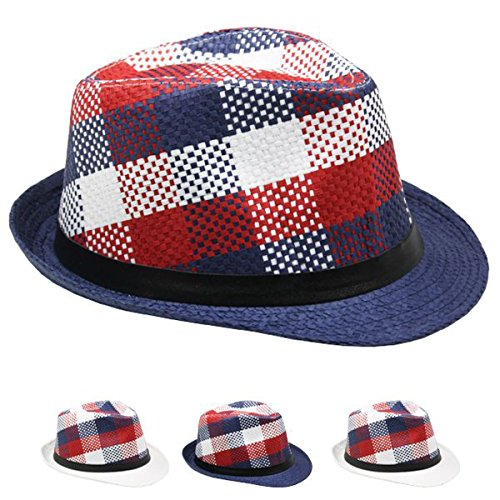 List A Contemporary Fedora Hat For Men Women Unisex With Retro Originals A New Trilby Styles (Navy Plaid)