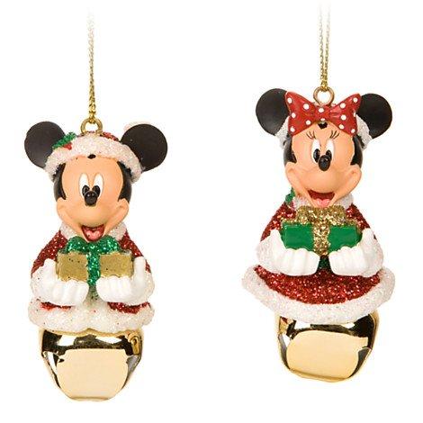 Disney Santa Mickey and Minnie Mouse Jingle Bell Ornament Set New Box