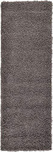 Unique Loom Solo Solid Shag Collection Modern Plush Graphite Gray Runner Rug (2' 2 x 6' 5) Charcoal Runner Area Rug