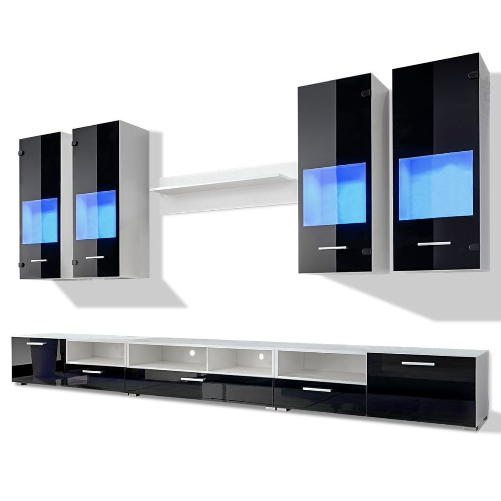 Vidaxl Meuble Tv Vitrine Murale Noir Avec Lumi Re Led Bleu 8  # Meubles Tv Blanc Avec Lumiere