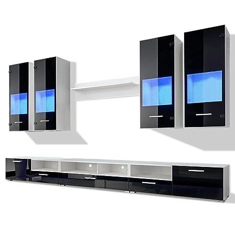 vidaXL Set 8 mobili soggiorno con vetrina nero brillante unità TV ...