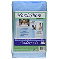 NorthShore Premium, 17 x 24, 8 oz., Blue Disposable Underpads (Chux), Small, ...