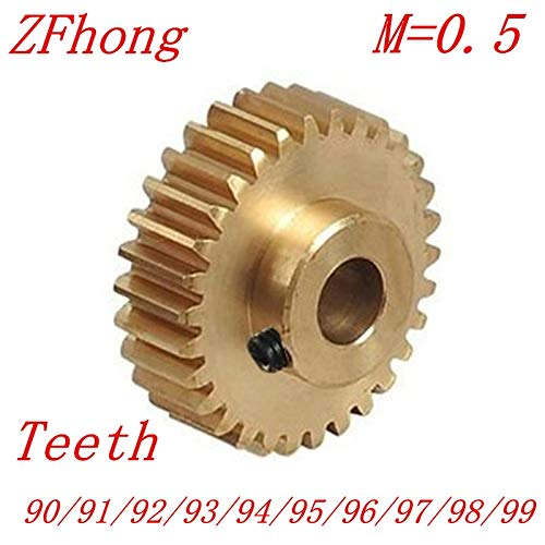Fevas 2PCS/LOT 0.5M 90 91 92 93 94 95 96 97 98 99 Teeth Brass Step Spur Gear CNC Lathe Machining Parts - (Number of Teeth: 94 Teeth, Hole Diameter: 4mm) ()