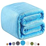 Richave Fleece Blanket Twin Size 350GSM Light Blue for The Bed Extra Soft Brush Fabric Super Warm Sofa Blanket 66