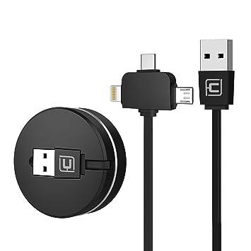 IP y Micro USB y Tipo C 3 en 1 y Cargador de transmisi/ón de Datos 3 en 1 de 1 m Cafele Cable de Carga USB retr/áctil