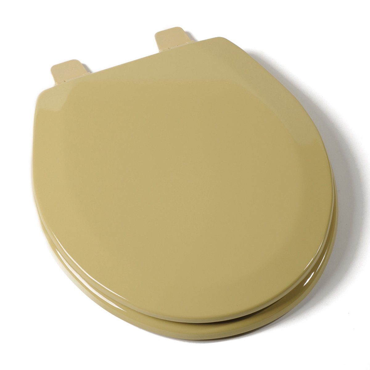 solid gold toilet seat.  Deluxe Harvest Gold Wood Round Toilet Seat Amazon com