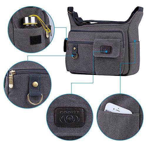 Light Canvas Laptop Brand Messenger Coofit coofit Men's Shoulder Grey Bags Design Bag Crossbody Bag xqXqR7a
