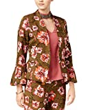 XOXO Olive Large Junior Floral-Print Bell-Sleeve Jacket Green L
