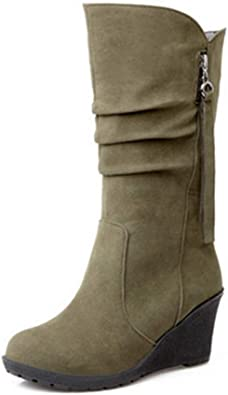 GIY Women's Wedge Platform Slouch Boots