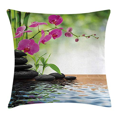 CHA-LRS.BB Spa Throw Pillow Cushion Cover, Composition Bamboo Tree Floor Mat Orchid Stones Wellness Greenery, Decorative Square Accent Pillow Case, 18 X 18 Inches, Fuchsia Charcoal Grey Lime Green ()
