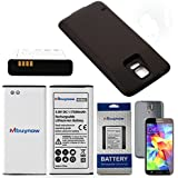 Mbuynow® Batterie 7500 mAh Lithium-Ion + Cache de Batterie Couleur Kaki pour Samsung Galaxy S5 i9600