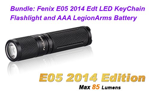 Fenix E05 2014 Edition 85 Lumen LED KeyChain Black Flashlight with LegionArms AAA Battery
