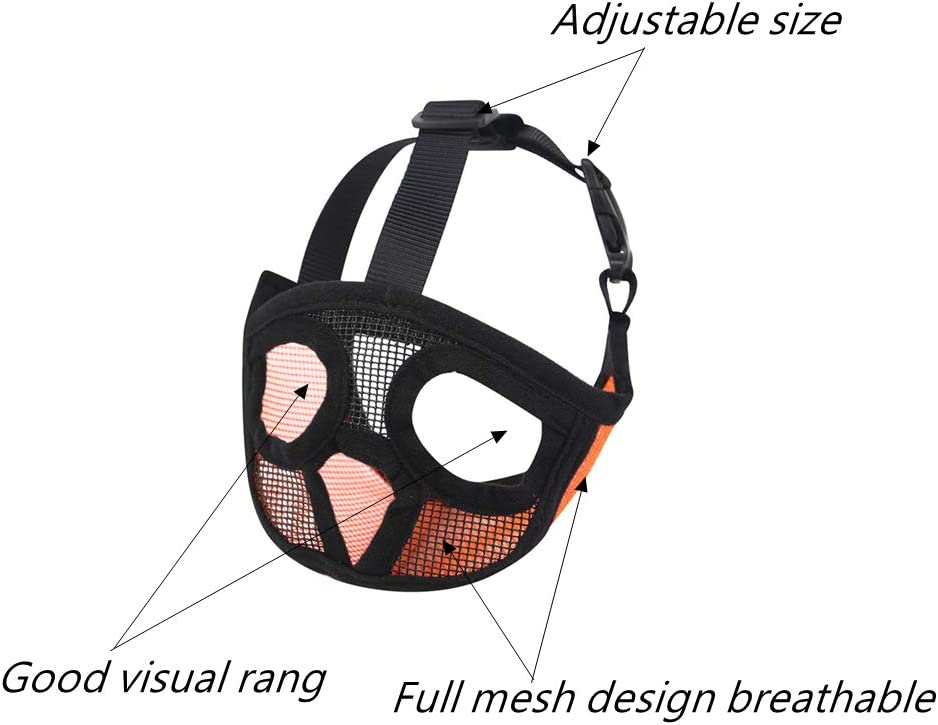 Breathable Mesh Dog Muzzle for Bulldog and Short-snouted Breeds to Biting Chewing Training Dog Mask PETEMOO Dog Muzzles for Short Snout Dog