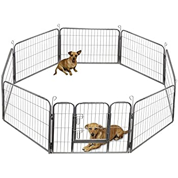 """40"""" x 73"""" Exercise Pen, Metal Tube Fence - Heavy Duty Folding Yard Playpen for Pets - 8 Panel 40 H"""" by 73"""" Octagon Diameter"""