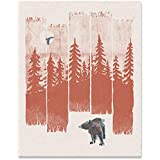 Bear in the Wilderness Art Print Serene Nature Outdoor Forest Trees Woodlands Landscape Wall Art Wildlife Hiking Sunshine Tra