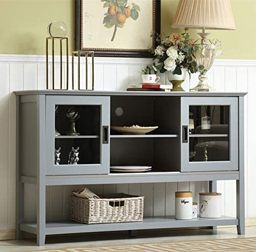 Mixcept 55″ Modern and Contemporary Sideboard Buffet Cabinet Wood Console Table Storage Cabinet