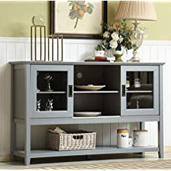 Farmhouse Buffet Sideboards Mixcept 55″ Modern and Contemporary Sideboard Buffet Cabinet Wood Console Table Storage Cabinet with Sliding Doors Kitchen Dining Room Furniture, Gray farmhouse buffet sideboards