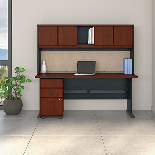 Bush Business Furniture Series A 72W Desk with Hutch and Mobile File Cabinet in Hansen Cherry and Galaxy ()