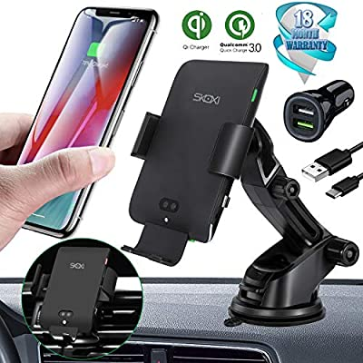 Automatic Clamping Wireless Car Charger-Include QC3.0 Dual-Port Car Charger Qi Wireless Charger Mount 10W 7.5W Fast Charging Phone Holder Compatible with iPhone Xs Max XR 8 Samsung S10 S9 S8 Note 9: Home Audio & Theater