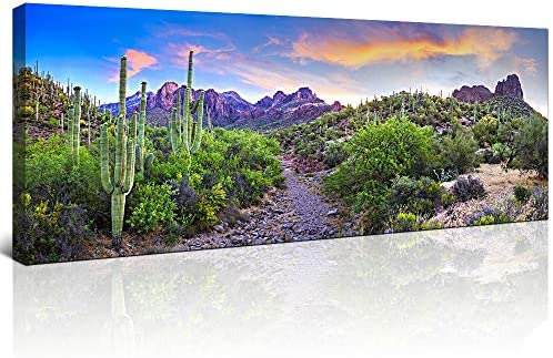KLVOS Cactus Landscape Wall Art Colorful Sunset
