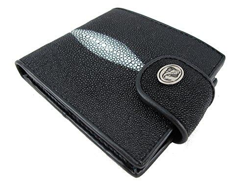 PELGIO Genuine Stingray Skin Leather Women's Wallet Coins Purse Black