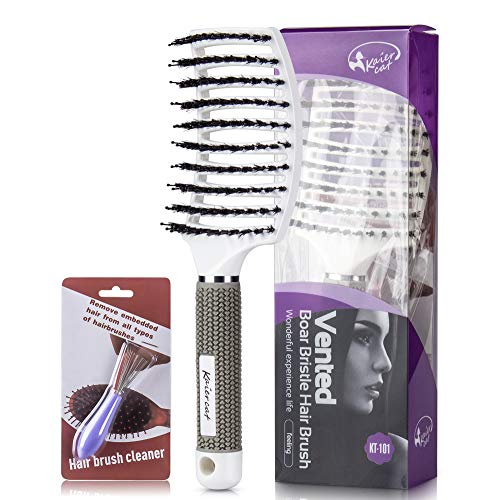 Kaiercat Boar Bristle Brush-Best at Detangling Thick Hair Vented For Faster Drying-100% Natural Boar...