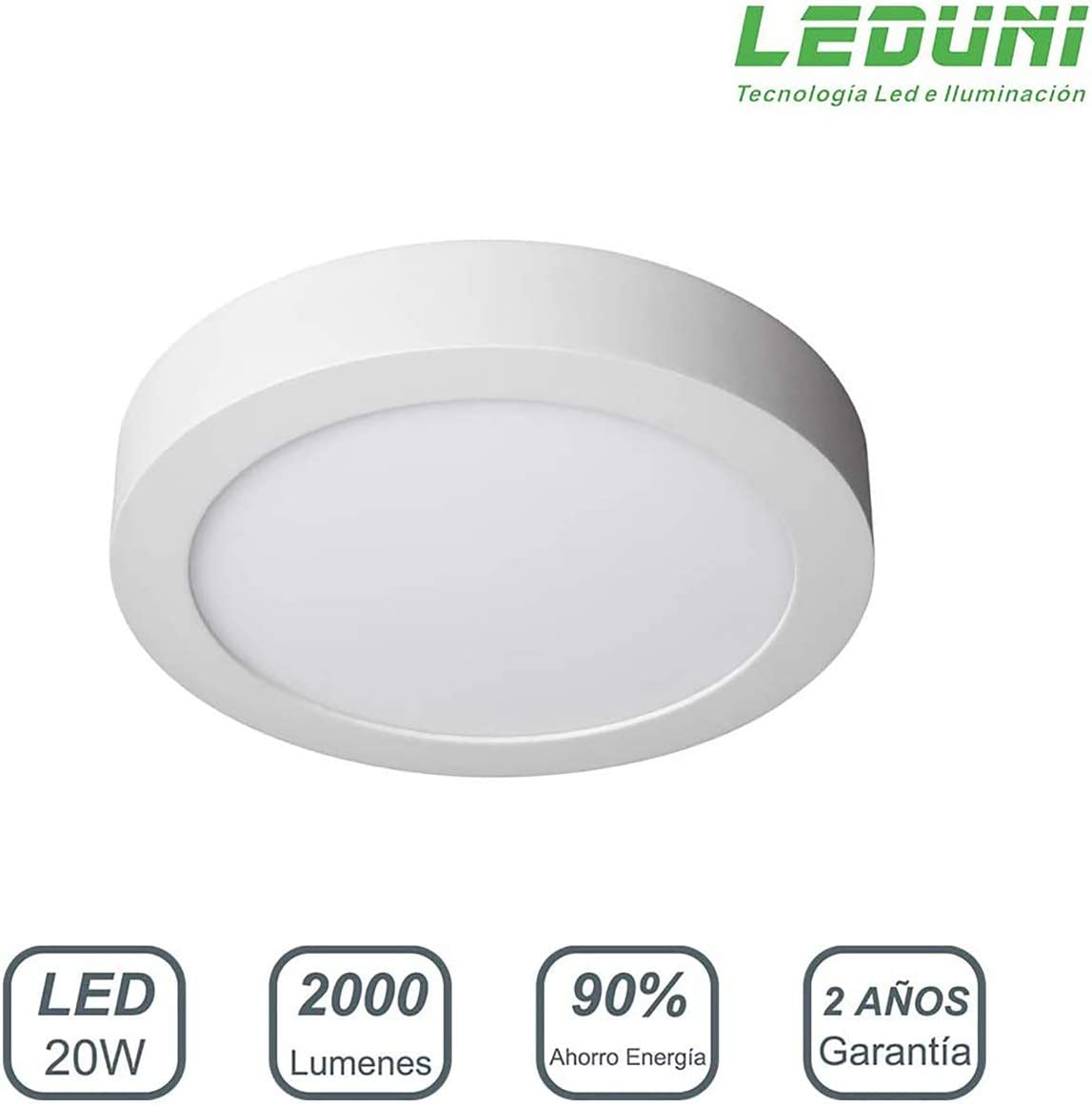 LEDUNI Downlight Panel Superficie LED Circular Redonda 20W 2000LM Plafon Redondo Para techo y Pared Color Blanco Frío 6000K Angulo 120 IP40 OPAL Aluminio 225 * 40Hmm