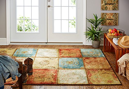 Mohawk Home Free Flow Artifact Panel Multicolor Patchwork Printed Area Rug  5X8  Multicolor
