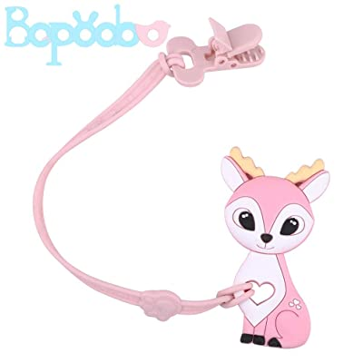 bopoobo Baby Silicone Pacifier Clip with Teether Toys Deer Shape BPA Free Teething Pendant Safe Plastic Clip Binky Holder Set for Infants and Toddlers: Toys & Games [5Bkhe2004019]