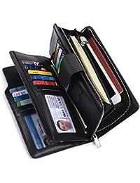 billetera con bloqueo RFID, triple, sobre largo con espacio para tarjeta de crédito, organizador de cartera, para...