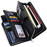 Alavor Women RFID Blocking Trifold Wallet Long Clutch Credit Card Organizer Large Capacity Purse (Black)