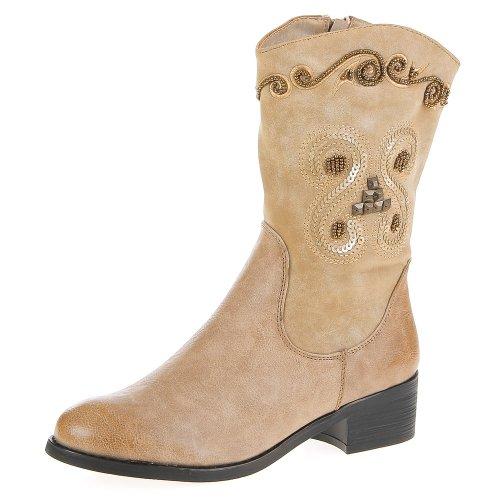 Ital-Design - Botas plisadas mujer Beige - beige