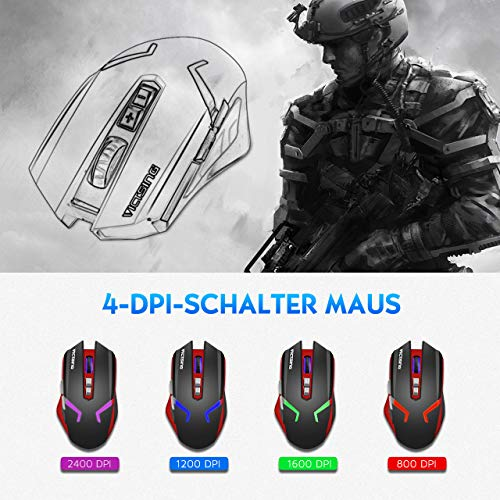 VicTsing Gaming Mouse Wireless & Wired (2 in 1), Rechargeable Mouse Mice with 4 Adjustable DPI (Up to 2400), 7 Buttons, 4 Colors Backlit, Ergonomic Design for PC Mac Laptop (Black)