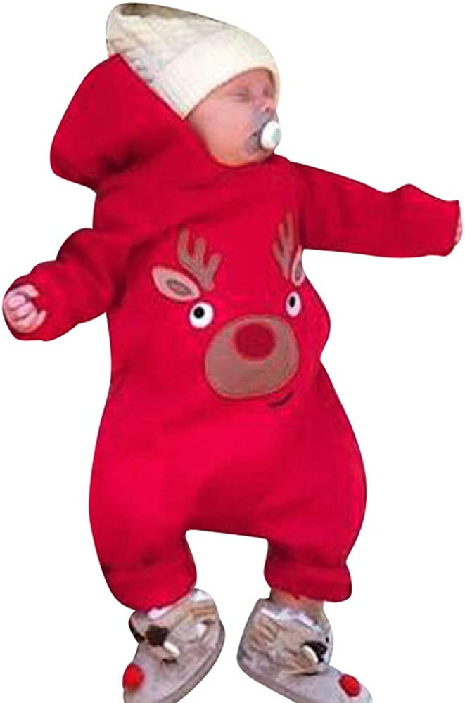 Christmas Baby Romper,Fineser Lovely Toddler Baby Boys Girl Long Sleeves Cartoon Anlters Hooded Romper Jumpsuit Clothes