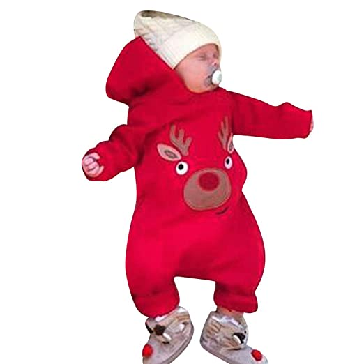 6a71b688474 SUNBIBE👻Infant Baby Boys Girls Cute Christmas Elk Hooded Long Sleeve  Romper Jumpsuit Winter Warm