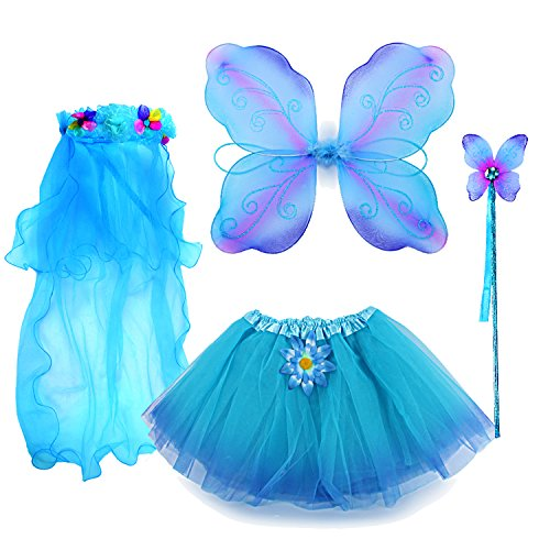 Word Girl Costume Halloween (fedio 4Pcs Girls Princess Fairy Costume Set with Wings, Tutu, Wand and Floral Wreath Veil for Children Ages 3-6)