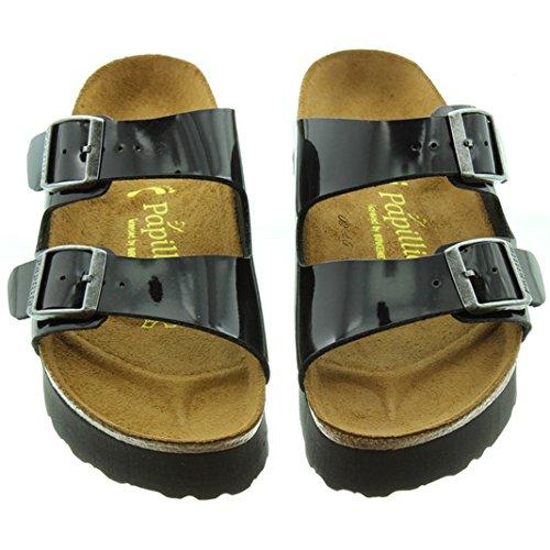 c748383f88d Birkenstock - Arizona Platform 2 Buckle Mule Sandals in Black Patent ...
