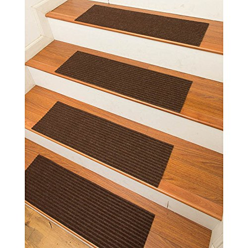 NaturalAreaRugs Halton Polyester Carpet Stair Treads, Handmade, Rubber Backing, Durable, Stain Resistant, Environmental-Friendly, Chocolate, Set Of 13 9'' x 29'' (9' Chocolate)