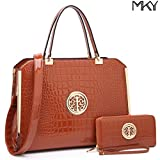 MKY Large Satchel 2 Pieces Handbag Designer Purse Multicolor w/ Wallet Shoulder Strap Brown