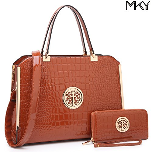 MKY Large Satchel 2 Pieces Handbag Designer Purse Multicolor w/ Wallet Shoulder Strap Brown by MKY
