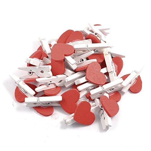 HONEARN 50 Stück Rot Herz Holzklammer Tischkarten Wäscheklammer Memoklammer Memo Clips Gastgeschenk Weihnachten Deko