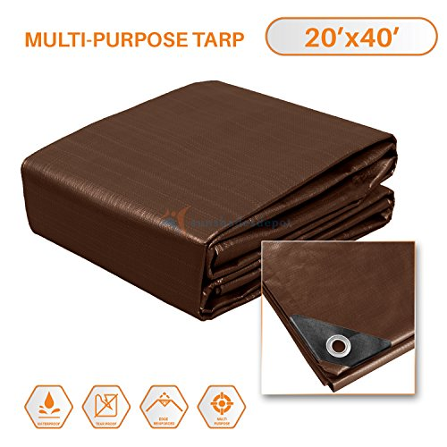 TANG Sunshades Depot 20x40 Feet Super Heavy Duty 16 Mil Waterproof Brown Tarp Multi Purpose Waterproof Poly Tarp Cover Reinforced Rip-Stop with Grommets