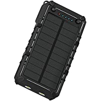 KOJOTON 16000mAh Portale Solar Charger, Led Flashlight IP67 Waterproof Dustproof External Battery Power Bank for iPhone, iPad, Samsung, Android and other Smart Devices