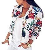 YT couple Women's Flower Print Long Sleeve Bomber Jacket Stand Collar Baseball Jacket (White, M)