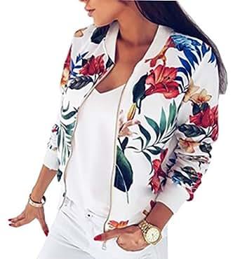 YT couple Women's Flower Print Long Sleeve Bomber Jacket