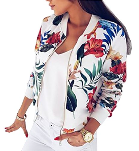 YT couple Women's Flower Print Long Sleeve Bomber Jacket Stand Collar Baseball Jacket (White, M) by YT couple