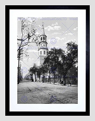 ST Michaels Church Charleston SC 1900 Old BW Black Framed Art Print ()