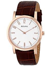 Bulova Men's Leather Strap Watch White 97A106