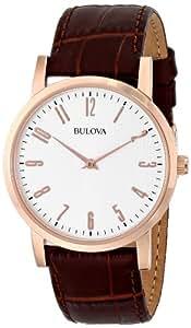Reloj de pulsera para hombre (mecanismo de cuarzo, esfera color gris y correa de piel color marrón), modelo 97B106 de Bulova