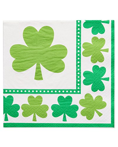 Day Lunch Napkin - American Greetings St. Patrick's Day Lunch Napkins, 16 Count, Party Supplies, Green